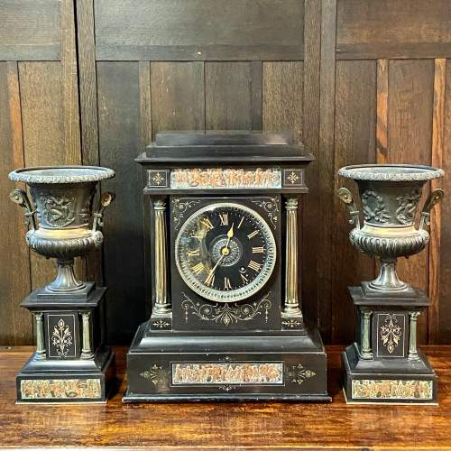 19th Century French Three Piece Clock Garniture De Cheminee image-1