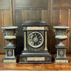 19th Century French Three Piece Clock Garniture De Cheminee