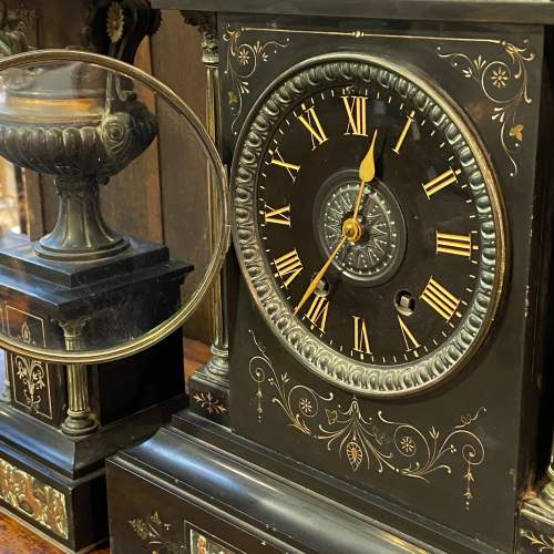 19th Century French Three Piece Clock Garniture De Cheminee image-2