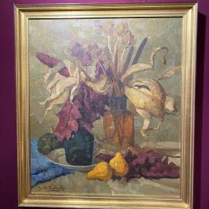 Superb Signed Oil On Canvas Floral And Fruit