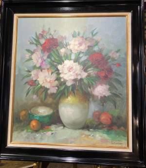 Superb Signed Oil On Canvas Still Life Floral Vase