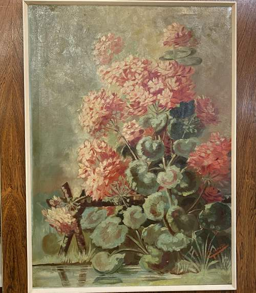 Superb Early 20th Century Oil On Canvas Floral Still Life image-2