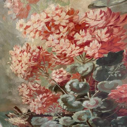 Superb Early 20th Century Oil On Canvas Floral Still Life image-1