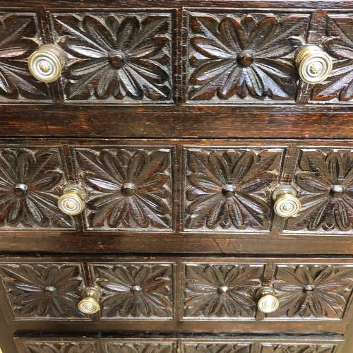 19th Century Carved Oak Bank Of Drawers image-3