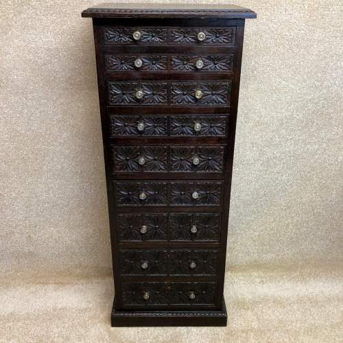19th Century Carved Oak Bank Of Drawers image-1