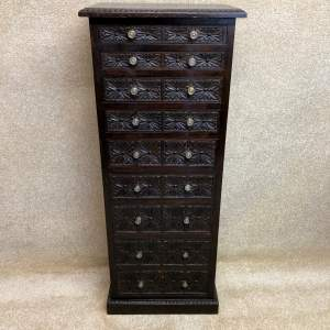 19th Century Carved Oak Bank Of Drawers