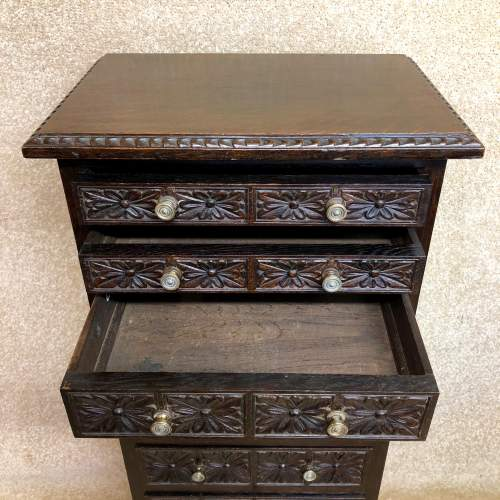 19th Century Carved Oak Bank Of Drawers image-2