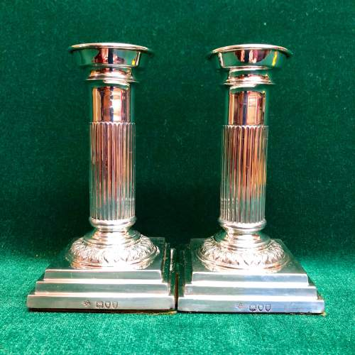 Pair of Victorian Silver Candlesticks London 1894 image-1