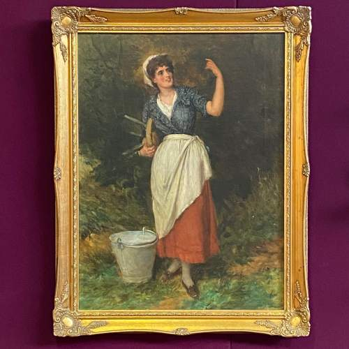 The Milk Maid Quality Oil on Canvas Painting image-1