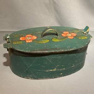 19th Century Swedish Oval Painted Storage Box