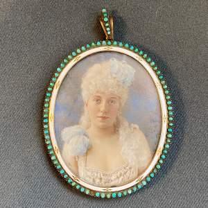 Quality 19th Century Miniature Watercolour Portrait of a Woman