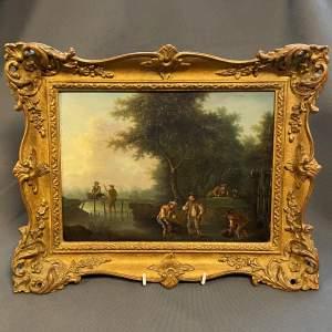 Dutch School 19th Century Wooded Landscape Oil on Panel