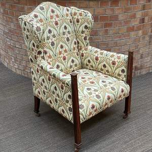 Arts and Crafts Oak Inlaid Fireside Armchair