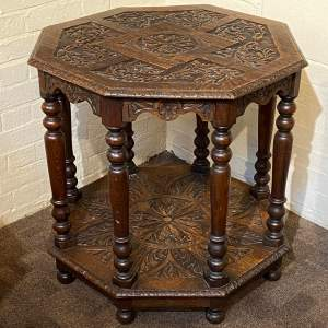 Unusual Victorian Carved Oak Octagonal Two Tier Table