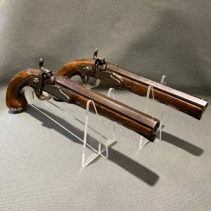 Pair of Silver Mounted Officers Pistols