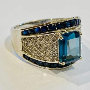 Vintage Heavy 9ct Gold Diamond Sapphire and Topaz Ring