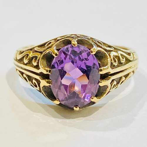 Vintage 9ct Gold and Amethyst Ring image-2