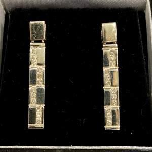 9ct Gold Diamond Stud Drop Earrings