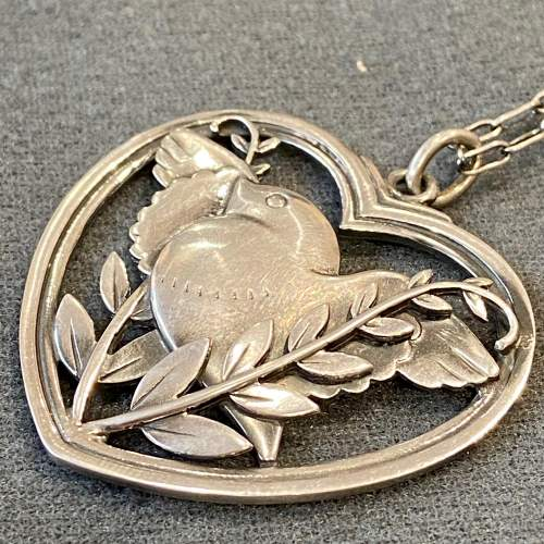 Georg Jensen Heart Framed Bird and Wheat Ear Pendant Necklace image-2