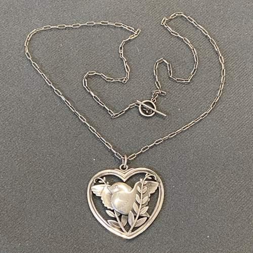 Georg Jensen Heart Framed Bird and Wheat Ear Pendant Necklace image-3