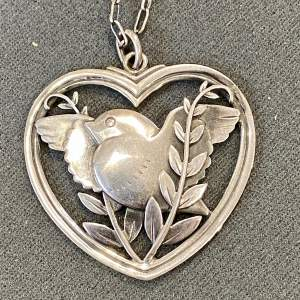 Georg Jensen Heart Framed Bird and Wheat Ear Pendant Necklace