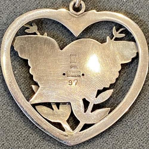 Georg Jensen Heart Framed Bird and Wheat Ear Pendant Necklace image-4