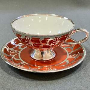 Friedrich Spahr Modernist Inspired Overlay Cup and Saucer