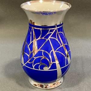 Friedrich Deusch Art Deco Blue Vase with Silver Overlay