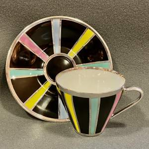 Friedrich Spahr Candy Stripe Overlay Coffee Cup and Saucer