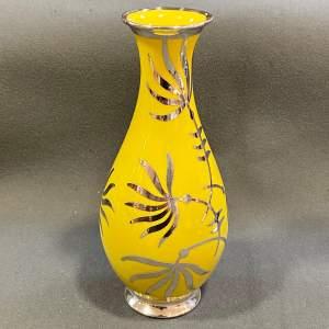 Friedrich Spahr German Yellow Overlay Porcelain Vase