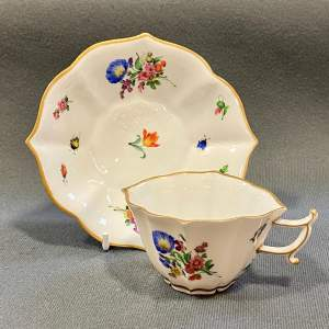 Meissen Quatrefoil Shaped Cup and Saucer