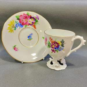 Fine and Unusual Fraureuth Porcelain Cup and Saucer