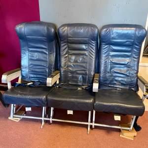 Set of Three 20th Century Blue Leather Aeroplane Seats