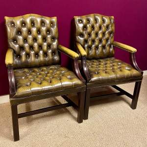 Pair of Leather George III Style Open Armchairs