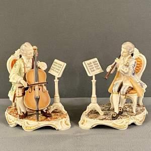 Pair of Dresden Musician Figures