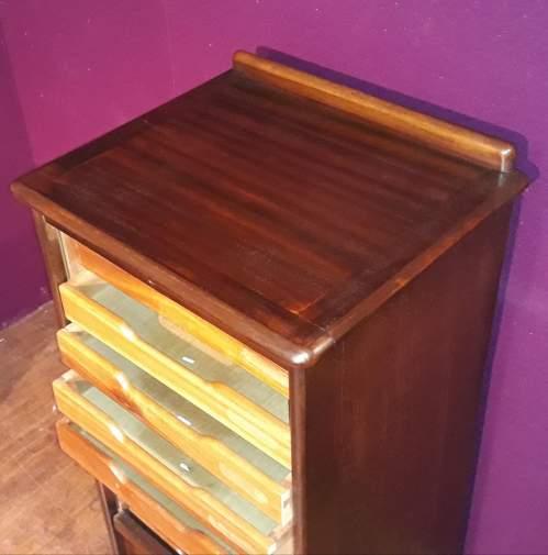 Mahogany Tambour Fronted Filing Cabinet image-4