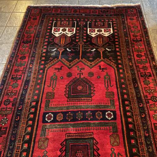 Superb Old Hand Knotted Persian Rug Songhore Wonderful Design image-1