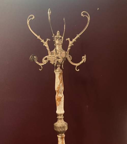 Beautiful Brass and Marble Ornate Coat Stand Superb Quality image-1