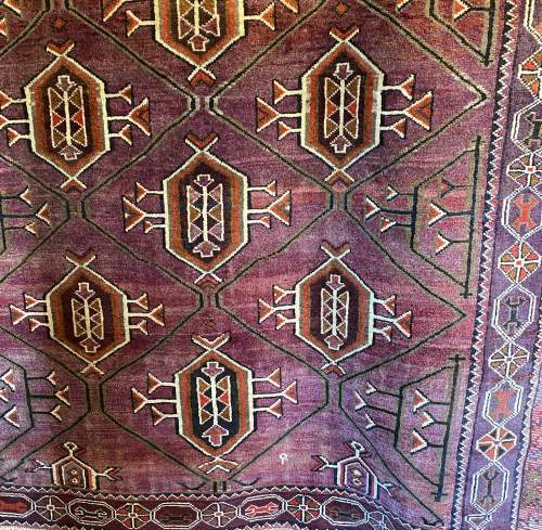 Superb Hand Knotted Afghan Rug Geometric Medallion Design image-2