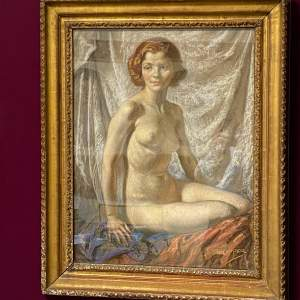 Beautiful Pastel Portrait of a Nude by Alfred Egerton Cooper