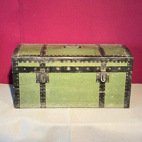 Early 20th Century French Tin Bound Wooden Chest image-4