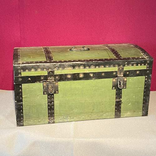 Early 20th Century French Tin Bound Wooden Chest image-1