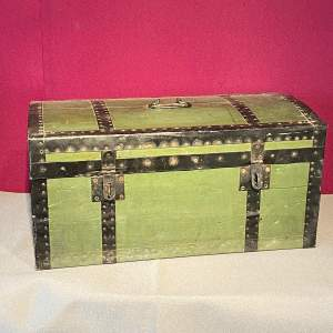 Early 20th Century French Tin Bound Wooden Chest