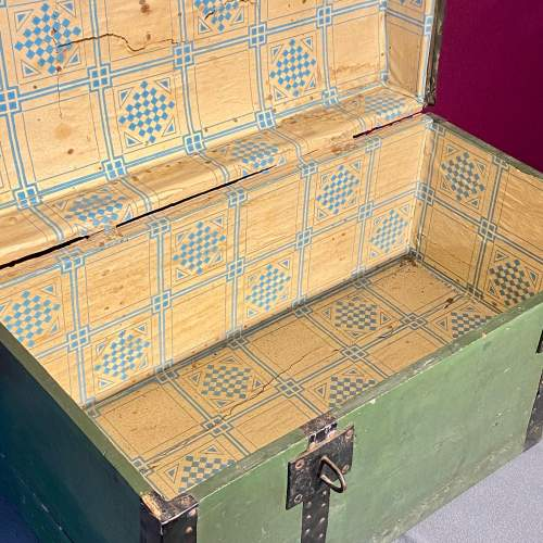 Early 20th Century French Tin Bound Wooden Chest image-3