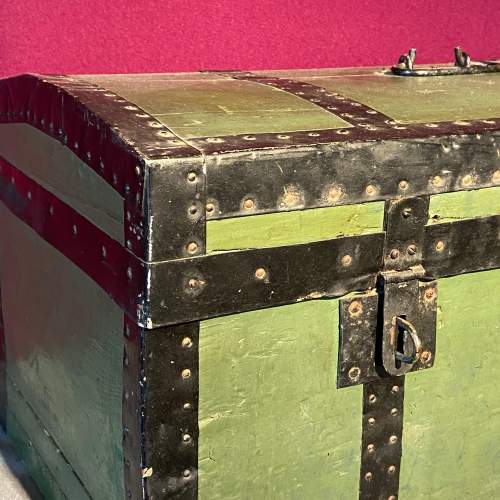 Early 20th Century French Tin Bound Wooden Chest image-2