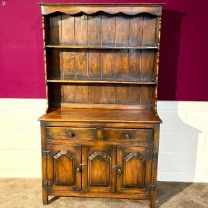 Mid 20th Small Oak Dresser with Plate Rack