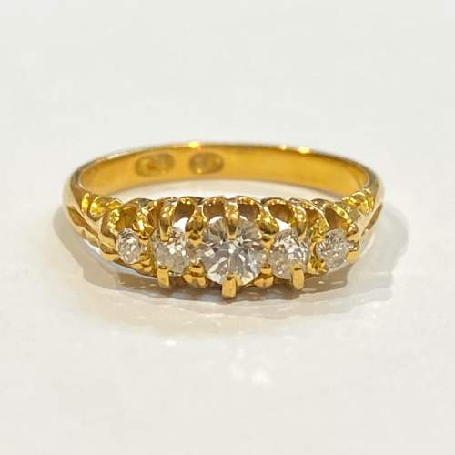 Victorian 18ct Gold Diamond Ring image-2