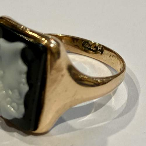 Early 20th Century 9ct Gold Onyx Cameo Ring image-4