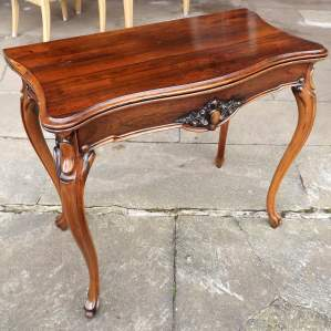 Victorian Rosewood Serpentine Fold Over Concertina Tea Side Table