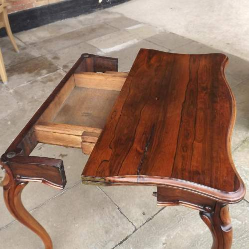 Victorian Rosewood Serpentine Fold Over Concertina Tea Side Table image-5